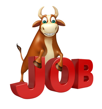job hunting: 3d rendered illustration of Bull cartoon character with job sign