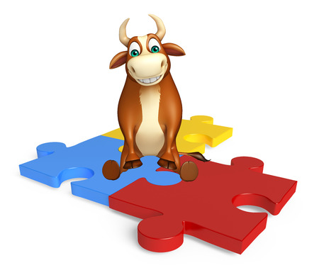 jig: 3d rendered illustration of Bull cartoon character with puzzle Stock Photo