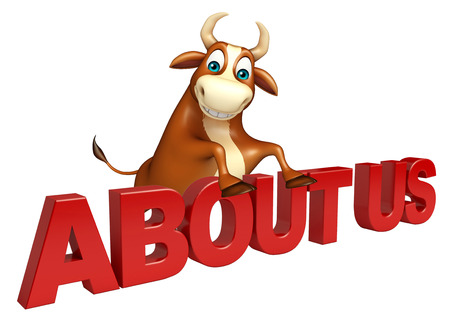 3d rendered illustration of Bull cartoon character with about us sign