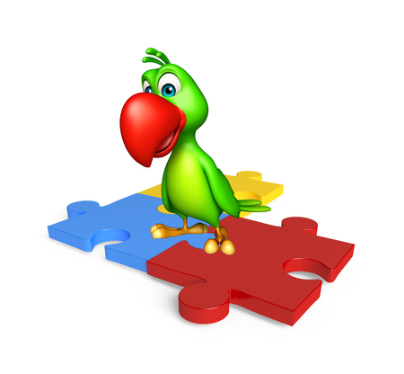 jig saw puzzle: 3d rendered illustration of Parrot cartoon character with puzzle Stock Photo
