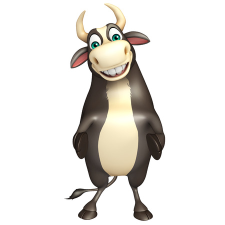 hoof: 3d rendered illustration of Bull funny cartoon character