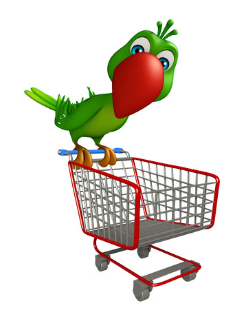 trolly: 3d rendered illustration of Parrot cartoon character with trolly