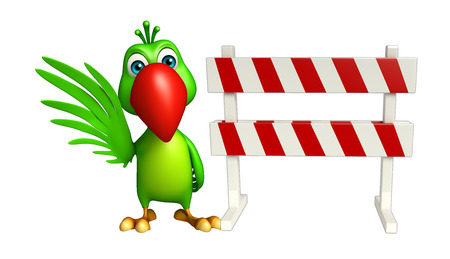constuction: 3d rendered illustration of Parrot cartoon character with   baracade