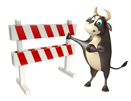 constuction: 3d rendered illustration of Bull cartoon character with baracades Stock Photo