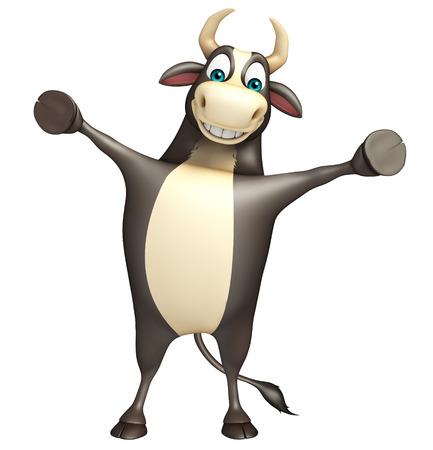 flesh: 3d rendered illustration of Bull funny cartoon character