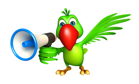 3d rendered illustration of Parrot cartoon character with loud speaker Фото со стока