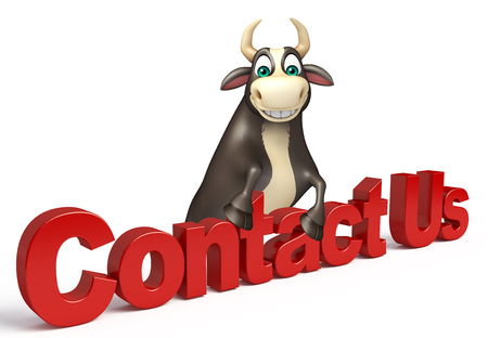 contact us sign: 3d rendered illustration of Bull cartoon character with contact us sign