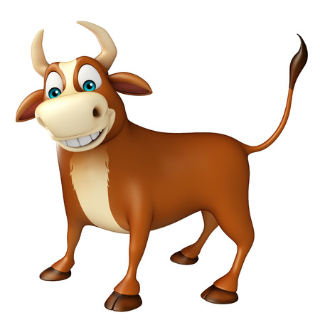 3d rendered illustration of Bull funny cartoon character