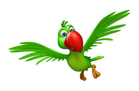 cartoon parrot: 3d rendered illustration of  flying Parrot cartoon character