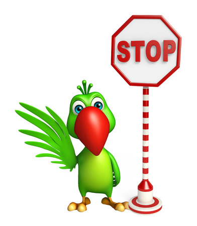 zoo traffic: 3d rendered illustration of Parrot cartoon character with stop sign