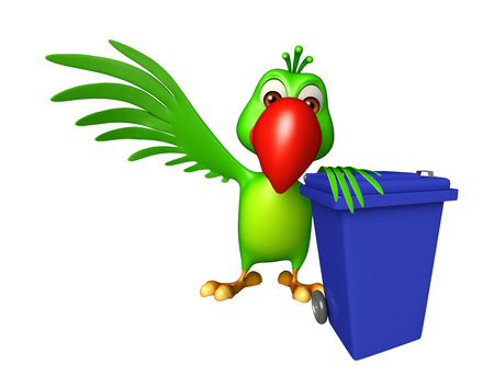 green cute: 3d rendered illustration of Parrot cartoon character with dustbin Stock Photo