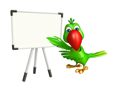 display board: 3d rendered illustration of Parrot cartoon character with display board