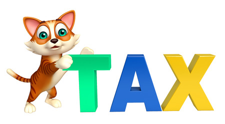 obligation: 3d rendered illustration of cat cartoon character with tax sign Stock Photo