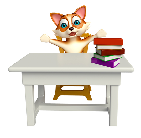 tabletop: 3d rendered illustration of cat cartoon character with table and chair Stock Photo