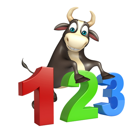 kiddie: 3d rendered illustration of Bull cartoon character with 123 sign Stock Photo