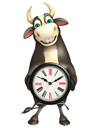 bull rings: 3d rendered illustration of Bull cartoon character with clock
