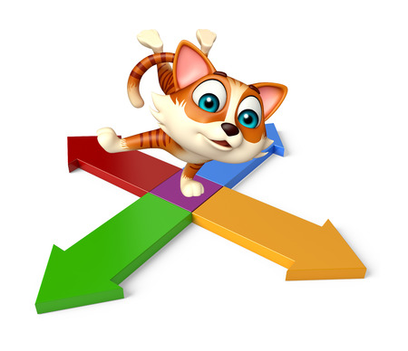 3d rendered illustration of cat cartoon character with arrow sign