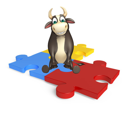 jig saw puzzle: 3d rendered illustration of Bull cartoon character with puzzle Stock Photo