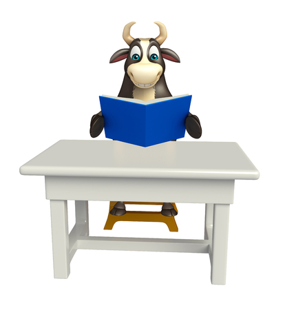 tabletop: 3d rendered illustration of Bull cartoon character with table and chair and book