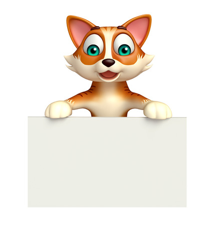 rendered: 3d rendered illustration of cat cartoon character with white board