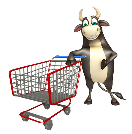 trolly: 3d rendered illustration of Bull cartoon character  with trolly Stock Photo