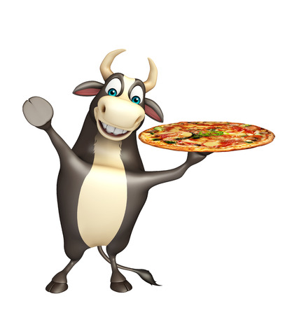 mozzarella cheese: 3d rendered illustration of Bull cartoon character  with pizza Stock Photo