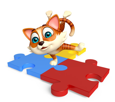 jig saw puzzle: 3d rendered illustration of cat cartoon character with puzzle Stock Photo