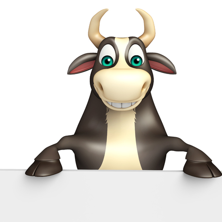 3d rendered illustration of Bull cartoon character with white board Stock Photo