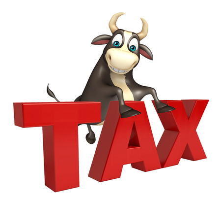 obligation: 3d rendered illustration of Bull cartoon character with tax sign