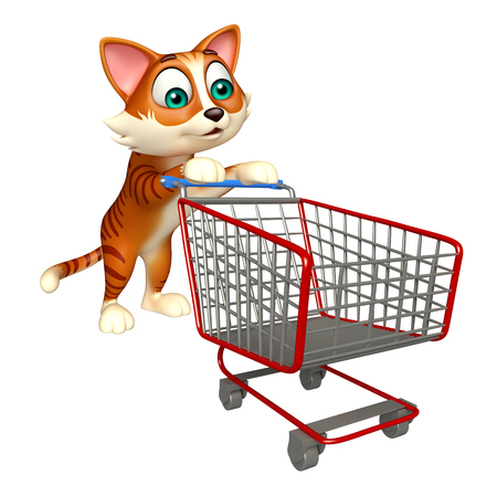 3d rendered illustration of cat cartoon character with trolly