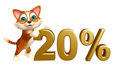 money cat: 3d rendered illustration of cat cartoon character with 20% sign