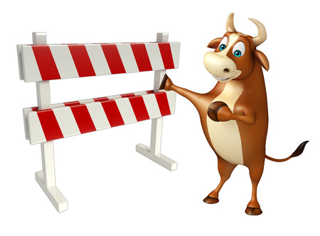 security lights: 3d rendered illustration of Bull cartoon character with baracades Stock Photo