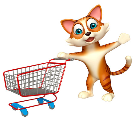 trolly: 3d rendered illustration of cat cartoon character with trolly