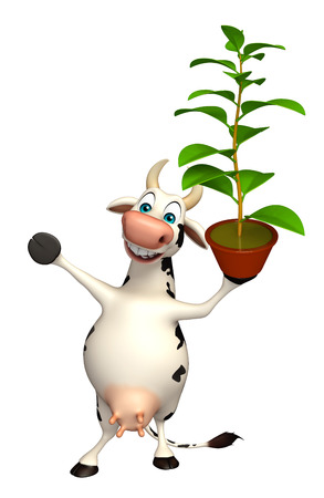chlorophyll: 3d rendered illustration of Cow cartoon character with plant