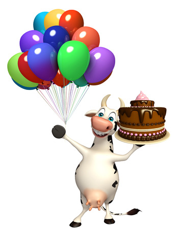 3d rendered illustration of Cow cartoon character with cake