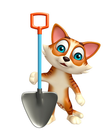 digging: 3d rendered illustration of cat cartoon character with digging shovel Stock Photo