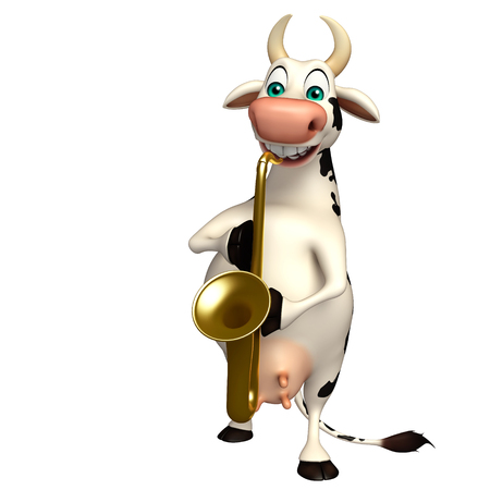 pastoral: 3d rendered illustration of Cow funny cartoon character
