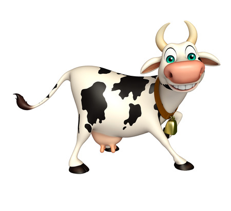 cheese cartoon: 3d rendered illustration of Cow funny cartoon character