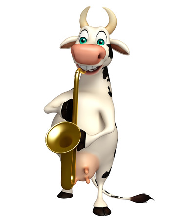 pastoral: 3d rendered illustration of Cow cartoon character with saxophone