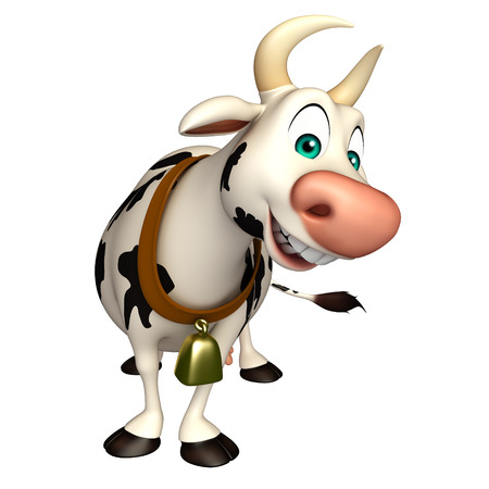 pastures: 3d rendered illustration of Cow funny cartoon character