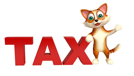 money cat: 3d rendered illustration of cat cartoon character with tax sign Stock Photo