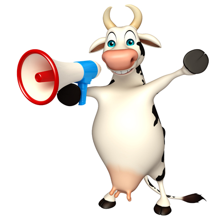 pastoral: 3d rendered illustration of Cow cartoon character with loudspeaker Stock Photo