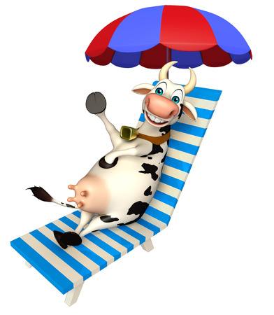 3d rendered illustration of Cow cartoon character with beach chair