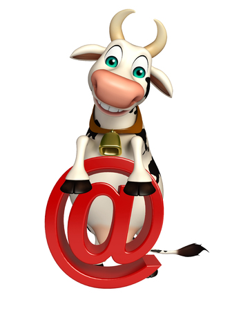 email icon: 3d rendered illustration of Cow cartoon character with at the rate sign