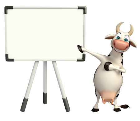 pastoral: 3d rendered illustration of Cow cartoon character with white board