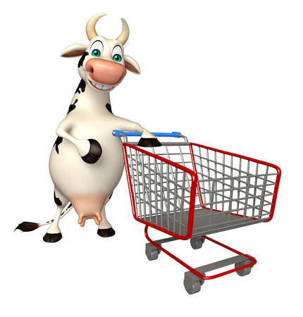 trolly: 3d rendered illustration of Cow cartoon character with trolly Stock Photo