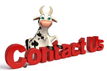 3d contact us: 3d rendered illustration of Cow cartoon character with contact us sign Stock Photo