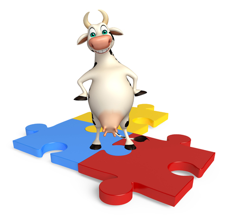 jig saw puzzle: 3d rendered illustration of Cow cartoon character with puzzle
