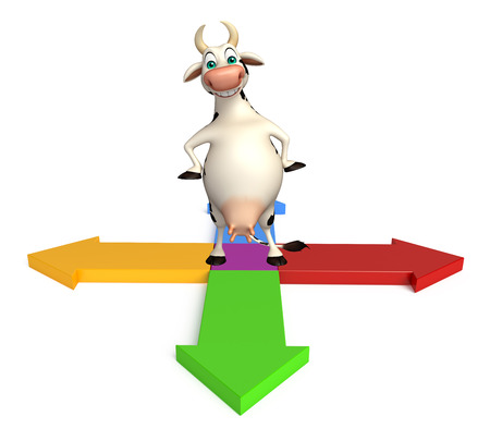 arrowhead: 3d rendered illustration of Cow cartoon character with Arrow sign