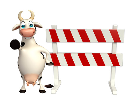 constuction: 3d rendered illustration of Cow cartoon character with baracades